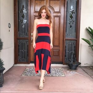 Red and navy strapless maxi dress from Old Navy